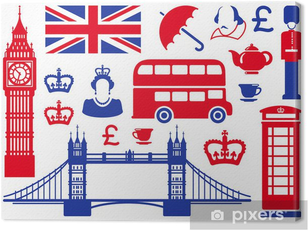 Icons on a theme of England Canvas Print - European Cities