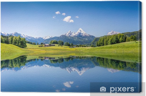 Idyllic summer landscape with mountain lake and Alps Canvas Print - Themes