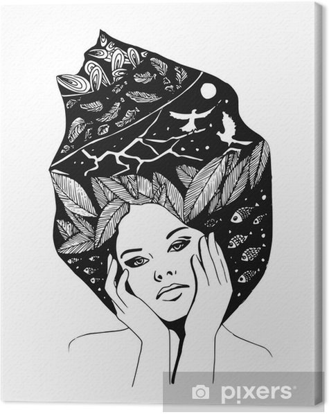 illustration, graphic black-and-white portrait of woman Canvas Print - People