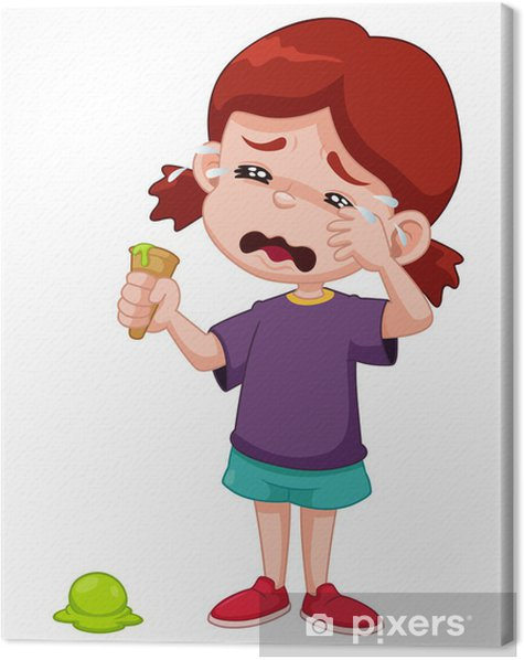 Illustration of Cartoon girl crying with ice cream drop Canvas Print - Children