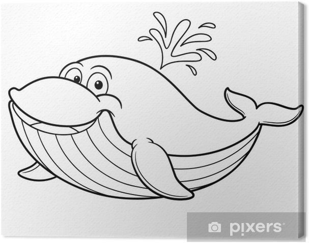 Illustration Of Cartoon Whale Coloring Book Canvas Print