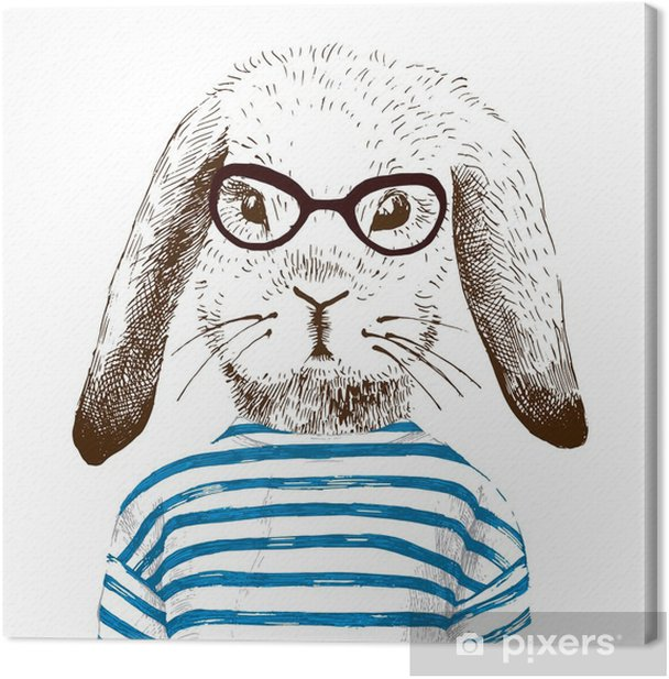 illustration of dressed up bunny Canvas Print - Animals