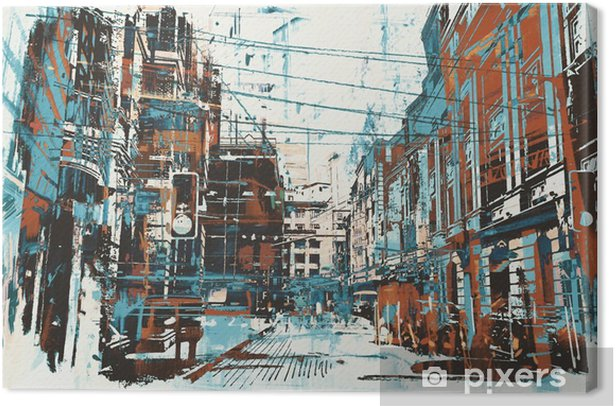 illustration painting of urban street with grunge texture Canvas Print - Hobbies and Leisure