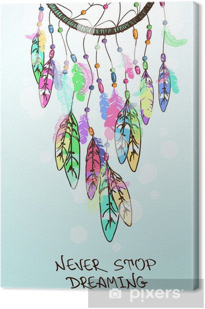 Illustration with American Indians dreamcatcher Canvas Print - Esoteric