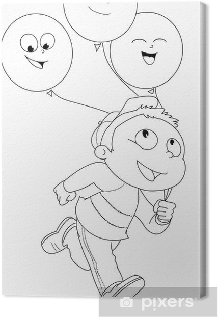 Illustrazione Da Colorare Di Bambino Che Corre Con Palloncini Canvas