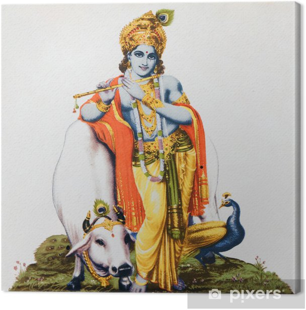 image of hindu god Krishna with cow, peacock , flute Canvas Print - Styles