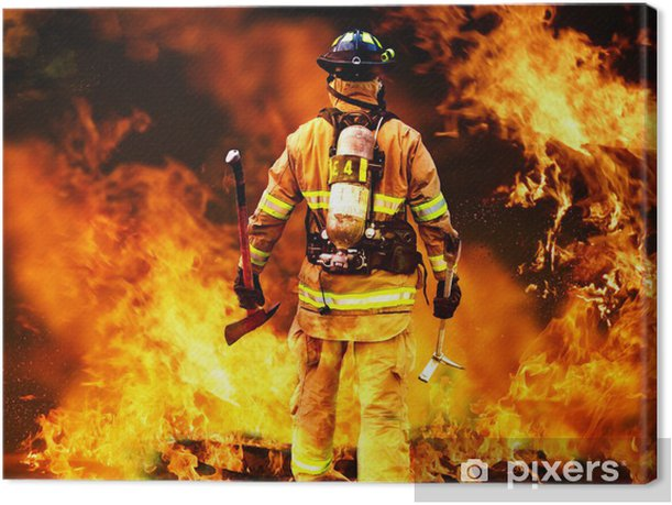 In to the fire, a Firefighter searches for possible survivors Canvas Print - Professions