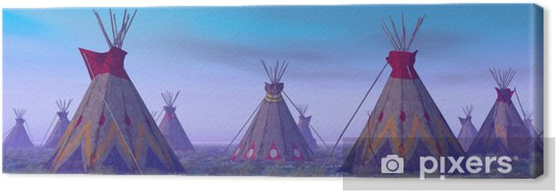 Indian Camp at Dawn Canvas Print - Lifestyle