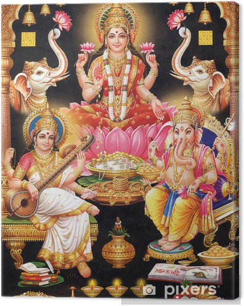 INDIAN GODESS MAA LAKSHMI WITH MAA SARASWATI AND GANESH JI Canvas Print - Public Buildings