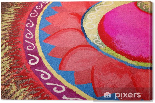 Indian kolam with Flower Pattern Canvas Print - Religion