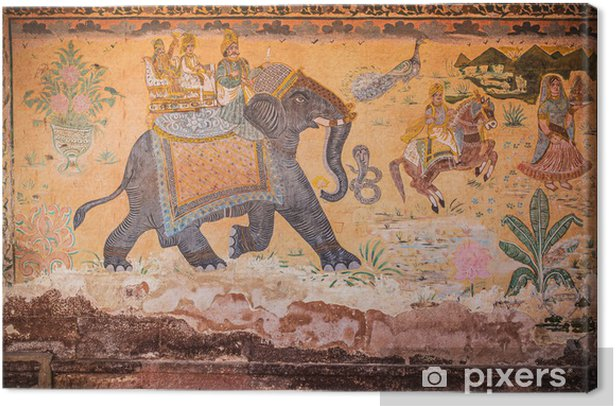 Indian wall painting with elephant and people Canvas Print - Asia