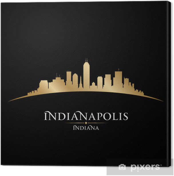 Indianapolis Indiana city skyline silhouette black background Canvas Print - America