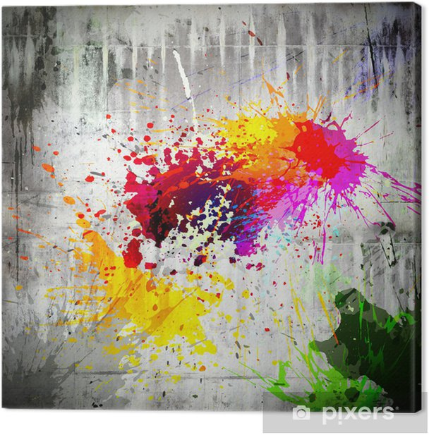ink splatter on concrete wall Canvas Print - iStaging