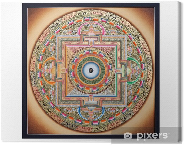 Inner part of ancient tangka Ohm Mandala on white Canvas Print - Themes