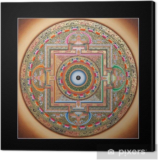 Inner part of ancient tibetan tangka Ohm Mandala on black Canvas Print - Religion