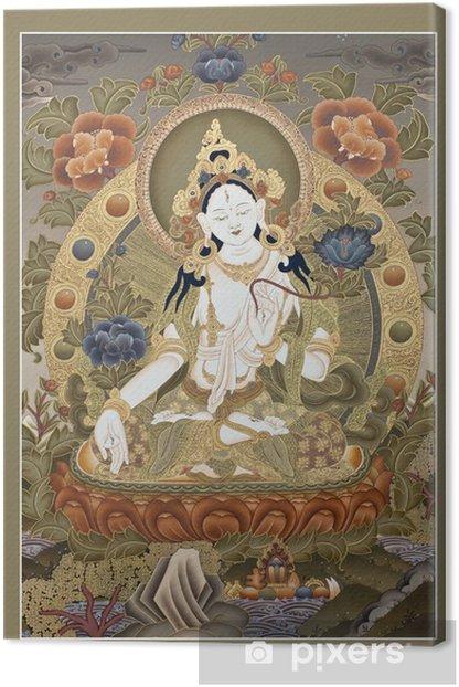 "Inner part of ancient tibetan tangka ""White Tara Goddes"" Canvas Print - Styles"