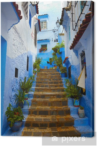 Inside of moroccan blue town Chefchaouen medina Canvas Print - Themes