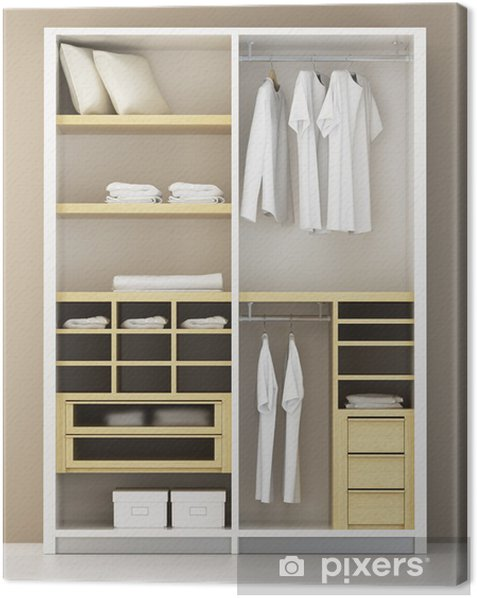 Inside the modern closet 3d rendering Canvas Print - Home and Garden