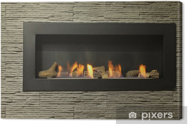 interior fireplace Canvas Print - Home and Garden