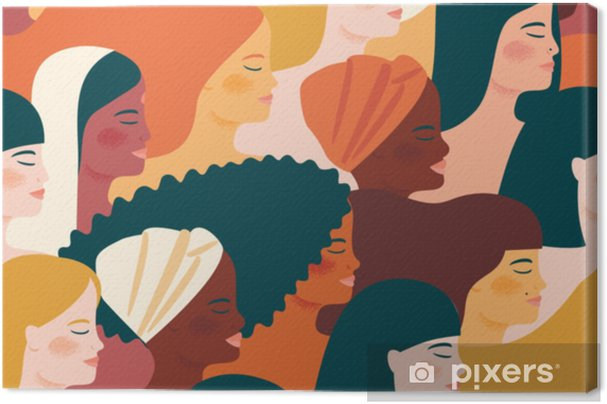 International Womens Day. Vector seamless pattern with with women different nationalities and cultures. Canvas Print - People