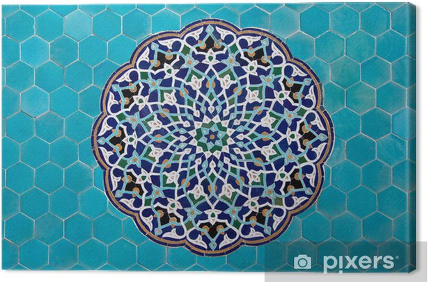 Islamic mosaic pattern with blue tiles Canvas Print - iStaging
