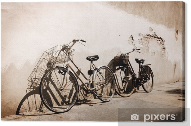 Italian old-style bicycles leaning against a wall Canvas Print - Themes