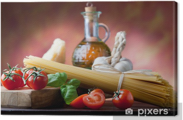 Italian pasta with basic ingredients Canvas Print - Themes
