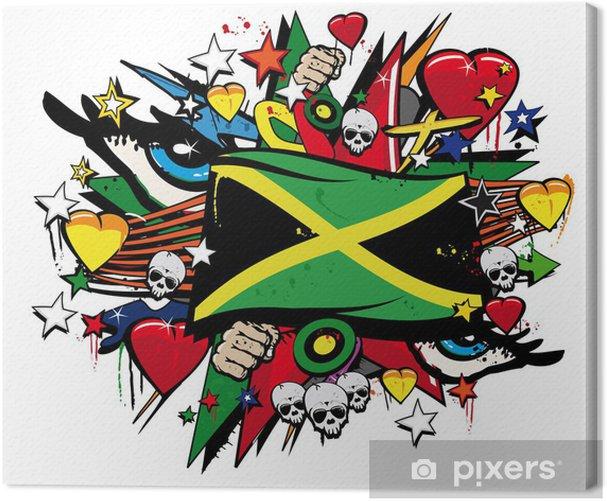 Jamaica flag jamaican graffiti flag street art illustration Canvas Print - Wall decals