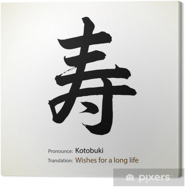 Japanese Calligraphy Word Wishes For A Long Life Canvas Print
