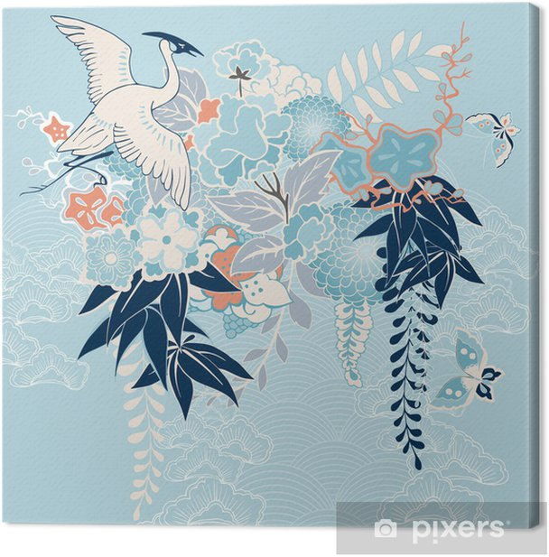 Japanese kimono motif with crane and flowers Canvas Print - Styles