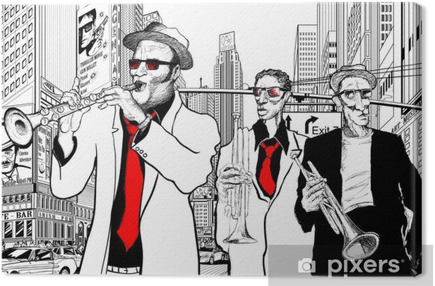 jazz band in a street of new-York Canvas Print - Jazz