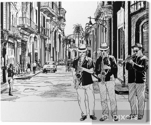 jazz band in cuba Canvas Print - Jazz