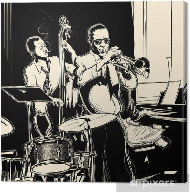Jazz band with double-bass trumpet piano and drum Canvas Print - Jazz