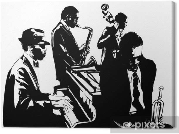 Jazz poster with saxophone, double-bass, piano and trumpet Canvas Print - Music