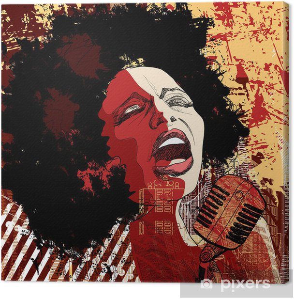 jazz singer on grunge background Canvas Print - Jazz