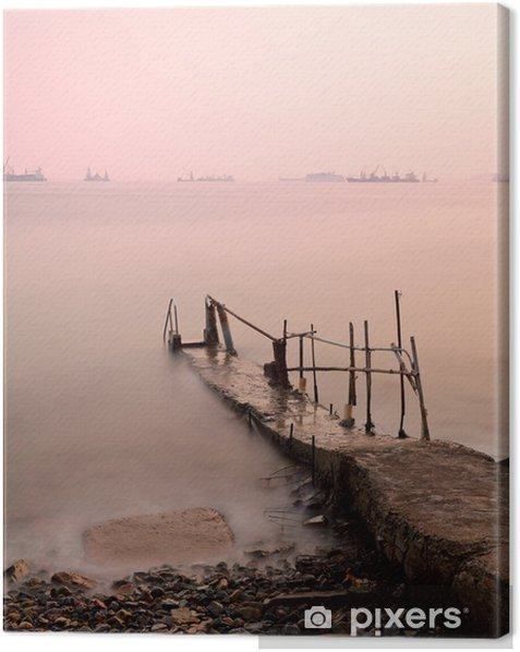 jetty at sunset Canvas Print - Water