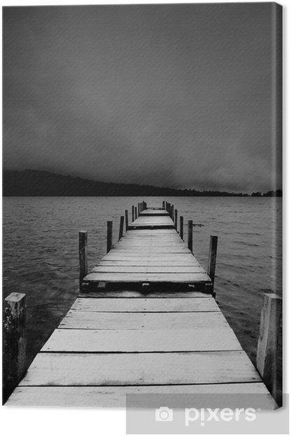 jetty view in black & white Canvas Print - iStaging