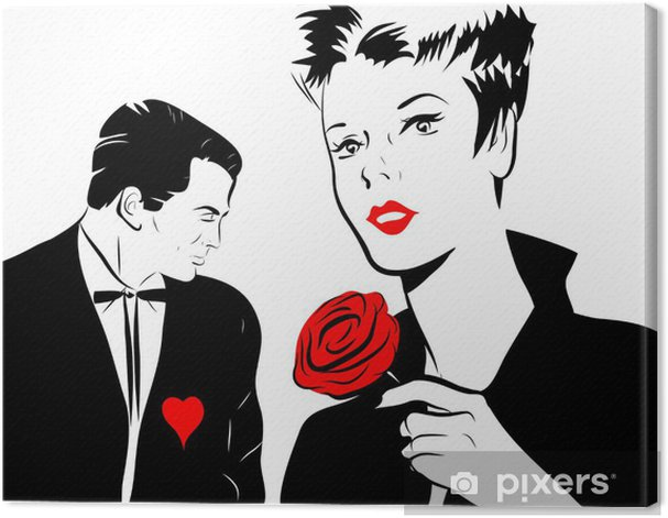 jeune femme amoureuse rose rouge homme coeur Canvas Print - International Celebrations