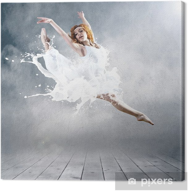 Jump of ballerina with dress of milk Canvas Print - Themes