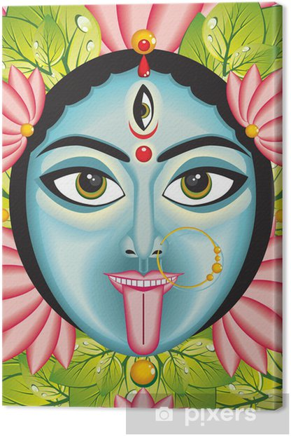 Kali - Indian Goddess face. Canvas Print - Religion