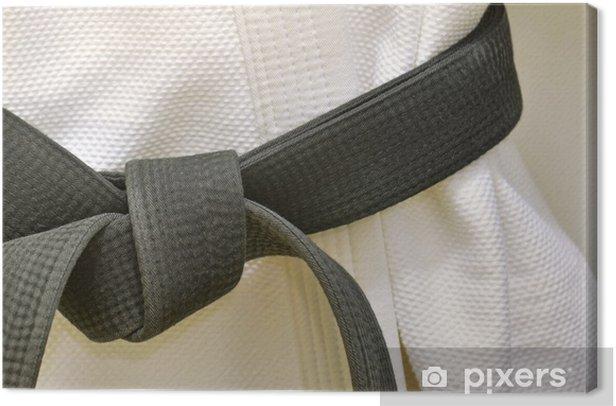 Karate Black Belt on White Uniform Canvas Print - Taekwondo