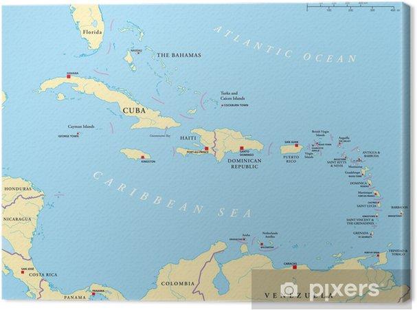Karibik Antillen Landkarte Canvas Print Pixers We Live To Change