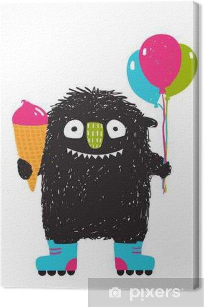 Kids Fun Monster with Ice-cream Balloons Roller Skating Cartoon Canvas Print - Animals