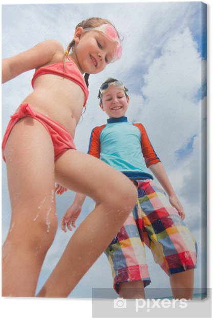 Kids having fun at beach Canvas Print - Holidays