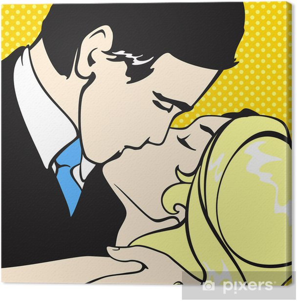 Kissing couple Canvas Print - Themes