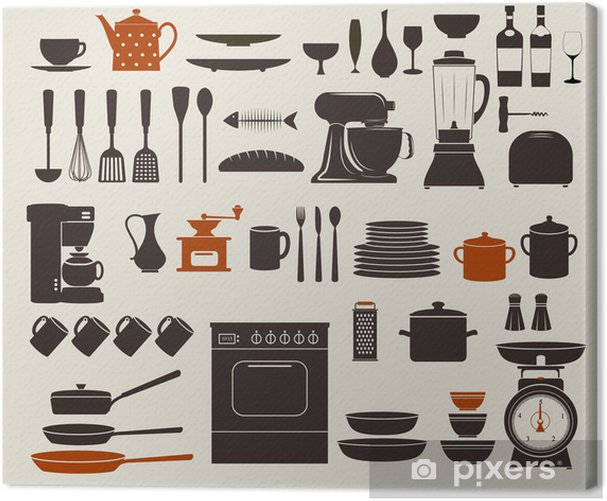 Kitchen Appliances, Utensils and Icons Canvas Print - Themes