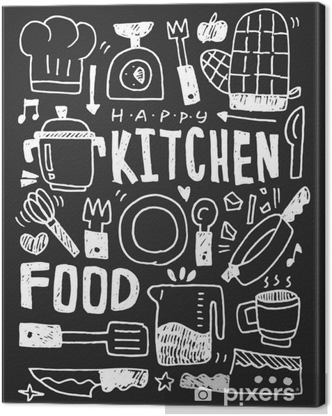 Kitchen elements doodles hand drawn line icon,eps10 Canvas Print - Graphic Resources