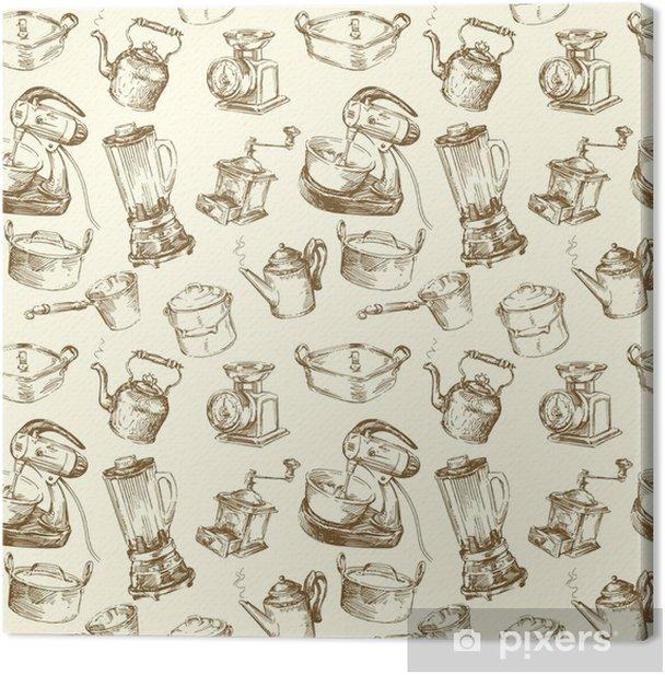 Kitchen Utensils Kitchenware Seamless Wallpaper Canvas Print
