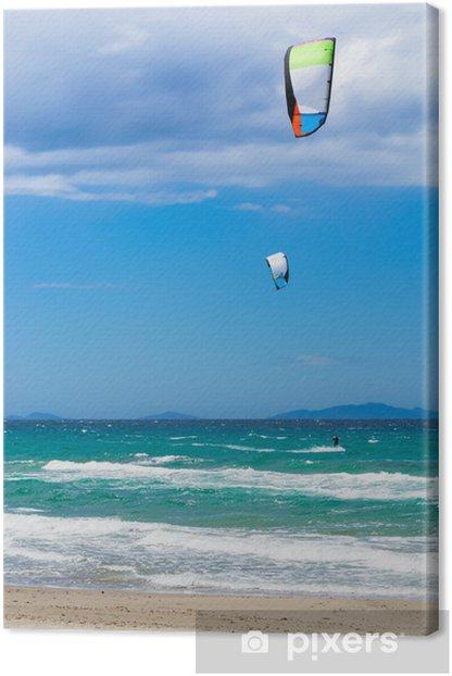 kite surf in Sardinia Canvas Print - Water Sports