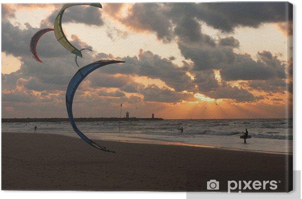 Kite surfing in the sunset at the Dutch beach of Scheveningen Canvas Print - Water Sports
